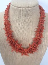 Stunning vtg.Salmon Coral 2 Strands Brass tone Clasp necklace