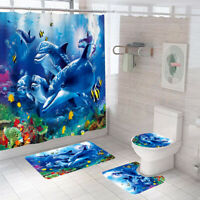 Dolphin Bathroom Rug Set Shower Curtain Non Slip Toilet Lid Cover Bath Mat