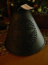 Primitive Vintage Shabby Country Small Punched Star Rusty Brown Lamp Shade