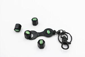 Car Tire Tyre Valve Caps + Spanner Keyring Key chain Matt Black LAND ROVER