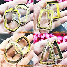 Empty Acrylic Frame Case Thai Amulet Box Blank 2in1 Clear Limpid Plastic Gold