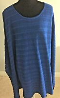Coldwater Creek Women's Blue Boho Poncho Tunic Over Top Blouse Size XL/1X