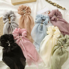 Colorful Layer Bow Chiffon Long Ribbon Scrunchie Hair Scarf Rubber Band Hair Tie