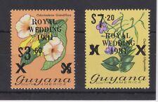 1981 Royal Wedding Charles & Diana MNH Stamp Set Guyana Black Overprint