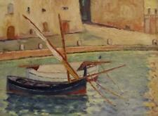 Charming Vintage Martigues Oil Painting Indistinctly Signed to the Reverse 1950s