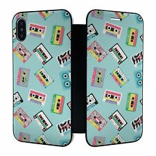 iPhone X XS Full Flip Wallet Case Cover Retro Cassette Tapes - S428