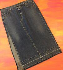 Vintage Women's Levis Long Denim Jean Skirt Side Split - Size 18 W