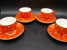 4 Vintage Sweden Upsala Ekeby Gefle Amanita Red Dot 4 Oz Cup & Saucer Sets