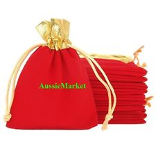 5 x velvet gift bags pouch wedding jewelry watch christmas necklace gold red new