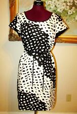 NWT TALBOTS BLACK/WHITE SHORT SLEEVE LINED BELTED/UN-BELTED DRESS SZ 12P $169.00