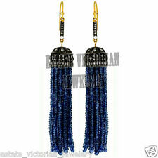 Studded Silver Tassel Earring Jewelry Victorian 3.72Ct Rose Cut Diamond Sapphire