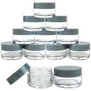 12 Pieces 20G/20ML Round Clear Cosmetic Cream Sample Jars Gray Lids BPA Free