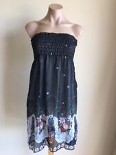 Womens Short Strapless Dress Black White Green Floral one size will fit 8 10 12