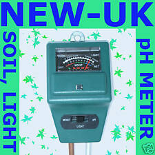 SOIL, pH, LIGHT MOISTURE METER  GARDEN PLANT GREENHOUSE (NEW UK)
