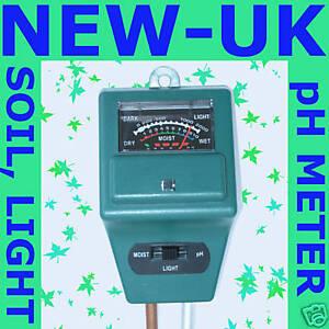 3 IN 1 SOIL TESTER, pH, LIGHT MOISTURE METER  GARDEN PLANT GREENHOUSE (NEW UK)
