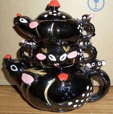 Rudolph The Red Nosed Reindeer Stacking Teapot, Sugar Bowl and Creamer!  Nice!