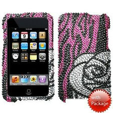 Apple iPod Touch 2nd 3rd Silver Crystal BLING Case Cover Black Pink Silver Rose