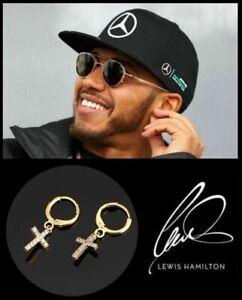Men's/Boy's Lewis Hamilton 18K Gold Plated Diamond 24mm Drop Hoop Cross Earrings