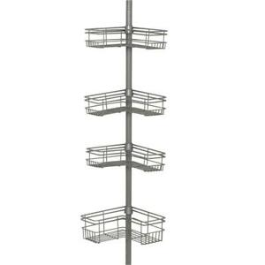 """L"""" Style Tension Corner Pole Caddy in Satin Nickel with 4 Shelves"""