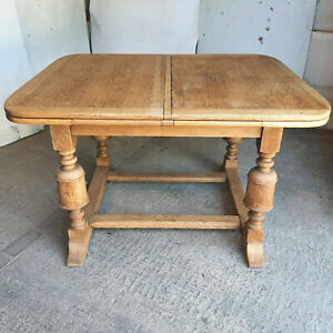 vintage,1930's,oak,draw leaf,extending,kitchen,dining table,turned legs,table,8