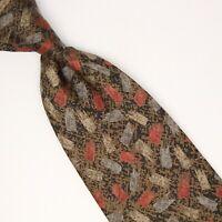 Serica Mens Silk Necktie Brown Gold Red Blue Beige Geometric Print Tie USA