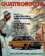 QUATTRORUOTE N° 240 - DICEMBRE 1975 - SIMCA 1300 CC _ LANCIA BETA _ RENAULT 20