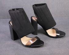 3D Zara Damen Schaft-Sandaletten Stretch Sockboots schwarz Gr. 37 Plexi-Riemchen