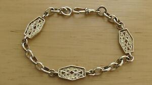 "9ct Yellow Gold Fancy Bar Link Bracelet 7 3/4"" Long 12.5g"