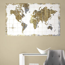 WORLD MAP 3' x 5' PEEL AND STICK WALL DECAL MURAL Stickers Gold and Silver Decor