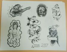 Vintage -1978 Picture Machine Spaulding Rogers Tattoo Flash Sheet 237 Snake Lion