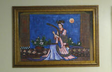 Painting Chinese Blue Dunhuang flying young girl play Crested piano