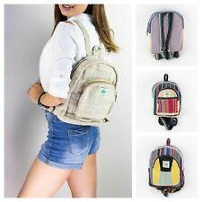 Natural Mini Hemp Bags Handmade Girls School College Bags Boho Hippie Backpack