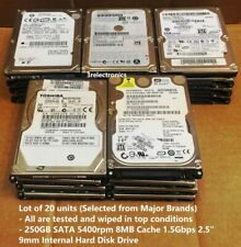 "Lot of 20 Major Brands 250GB SATA 5400rpm 8MB Int 2.5"" Laptop HDD - Express Mail"
