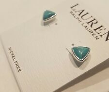 NWT Ralph Lauren Nickel Free Silver & Turquoise Stud Color Earrings *SHIP FREE*