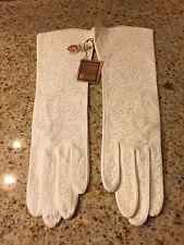 """Vtg""""Whisper Weights"""" Beaded White Gloves By Grandoe Sz 6 1/2"""