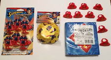 SUPERMAN PARTY PACKAGE 6 Party Toppers 16 Napkins 9 Shield Rings & Baking Cups
