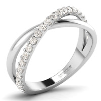 0.35ct Round Brilliant Cut Half Eternity Cross Over Ring Available in 18K Gold