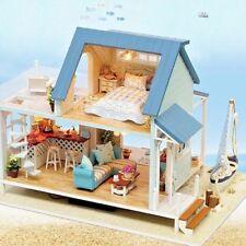 Hazlo tú mismo Casa De Muñecas Hecho a Mano Madera 3D Kit De Juego De Muebles Miniatura casas de Muñecas Luz LED