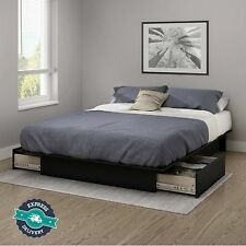 Queen Size Platform Bed Frame With Drawers Storage Modern Bedroom Furniture New