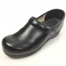 SANITA Women's Solid Black Leather Clogs 8 / 38