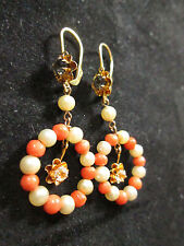 VINTAGE 14K YELLOW GOLD CORAL AND PEARL DANGLE EARRINGS