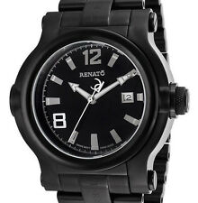 New Big Mens Renato T-Rex Black Dial Pro Diver Rugged Casual Watch