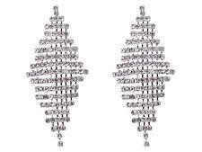 Tono Plata Claro Cristal Estrás Diamante Diseño Pendientes Colgantes Fiesta Regalo