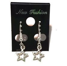 Tibetan Silver Star Outline Dangle Earrings on Silver Plated Fish Hook Findings