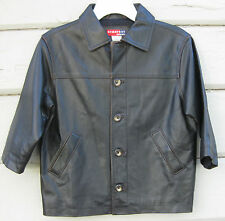 Gymsport Gymboree 100% Leather Dark Brown Fully Lined Jacket Youth 3 4 years
