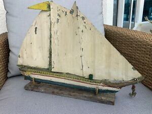 Antique Maine Made Folk Art Handmade Wood Painted Sail Boat Ship Model Sleepy