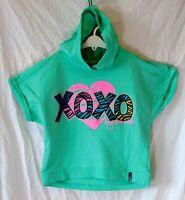 Girls Soho Green Sparkly Hugs Kisses Hooded Short Sleeve Sweater Age 13-14 Years
