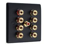 4.1 Placa de pared de altavoces Av Audio Oro Negro Mate 8 puestos de Unión +1 RCA Soldadura no
