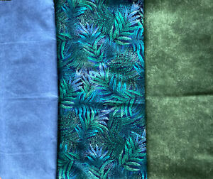 Quilter's FLANNEL Fabric Bundle, Blue & Green & Leaves, 3 pcs, 1.75 Yds total
