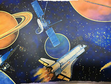 Wide Space Wallpaper Border, Blue Space Ship For Kids Boys Girls Bedroom